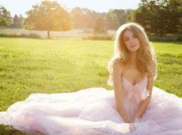 2014 горячие продажи sexy светло-розовый слоновой кости тюль sexy summer beach свадебные платья лук спагетти спинки длиной до пола летние платья дешевые