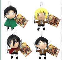 Wholesale Japanese Dolls Videos - Free Shipping 4pcs lot 4.5'' Plush Attack on Titan Rivaille Eren Jaeger Mikasa Doll Toys For Kids,Japanese Anime Toy