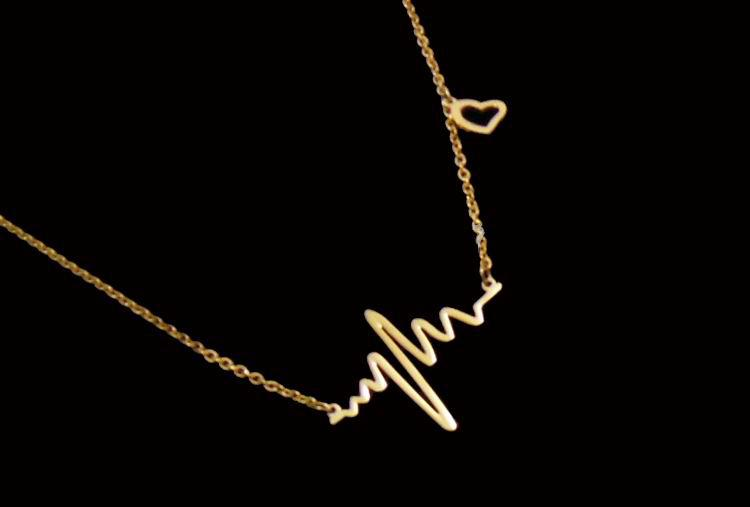 ECG Fashion Hot 18K oro battito cardiaco ciondolo collana battito cardiaco dichiarazione collana corpo catena acciaio inossidabile gioielli donne