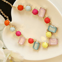 Wholesale Vintage Charms Candy - Vintage Retro Style High Qulity Acrylic Charms Candy Colour Necklace Collar Jewelry For Women S98088