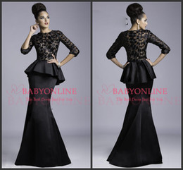 Wholesale Long Peplum Evening Dresses - New Janique Mermaid Evening Dresses Sexy Black Crew Neck 3 4 Long Sleeves Backless Appliques Lace Peplum Vintage Prom Pageant Gowns JQ3408