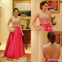 Wholesale Ling Dresses - 2017 Lace Look High Neck A Ling Long Sleeves Formal Evening Dresses Prom Gowns Sexy Pageant Dress Celebrity Gown BO5611