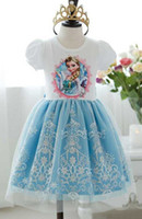 Wholesale Dresses Pcs - 95%off!hot sale!Ice snow princess dress!Sweet!Lace!frozen elsa Anna!DROP SHIPPING!high quality!In Stock!on sale 1 pcs