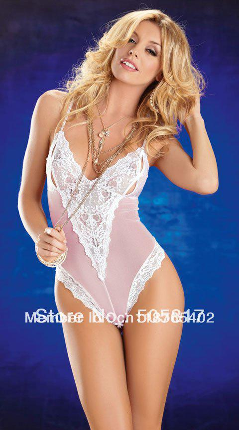 9d2c99369bf0e3 2019 Pretty Women Lace One Piece Teddy Lingerie Sexy Patchwork Halter  Teddies Outfits Club Wear White Pink Free Drop Shipping S68804 From  Qq976328700, ...