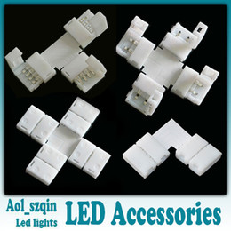 Wholesale Led Strip T Connector - 10pcs led strip connector 2pin 4pin 8mm 10mm L shaped T shaped cross shaped for 3528 single color 5050 single color rgb led strip