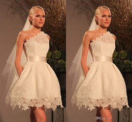 Wholesale Cheap One Sleeve Wedding Dresses - 2014 cheap hot sale new design summer collection A-line knee length wedding dresses gift veil one shoulder backless zipper free shipping