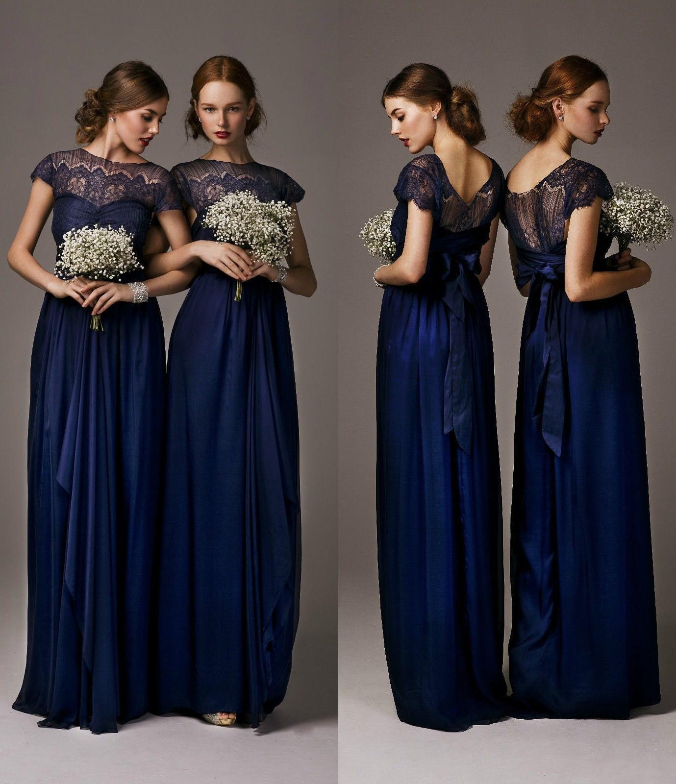 Chiffon lace bridesmaid dresses 2014 navy blue maid of honor bride see larger image ombrellifo Images