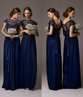 Wholesale Lace Bride Bridesmaids - Chiffon Lace Bridesmaid Dresses 2014 Navy Blue Maid of Honor Bride Dresses Sash Sheer Long A-Line Beach Bridesmaid Dresses with Cap Sleeves