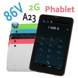 Wholesale 2g Tablets - 7 inch A23 86V phablet Tablet Allwinner Dual Core 2G GSM Phone Call Quadband Bluetooth Wifi Android 4.2 Dual camera SIM colorful 5pcs