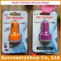 Wholesale Pc Phone Adapter - Double USB Car Charger Adapter Universal For Tablet PC Phone Camera 2.1A 1A Dual Ports Charger With Retail Package 10 colors Free DHL