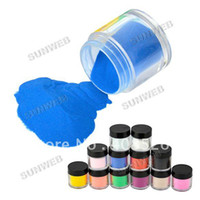 Wholesale Acrylic Color Powder Jumbo - Freeshipping-12 Pots Different Color Acrylic Powder Dust Jumbo Set for Professional Nail art Design 6159