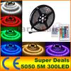 Non-waterproof 5M Roll 5050 SMD 60 LEDs M 300 LEDs Warm Cool White Red Green Blue Yellow RGB Flexible LED Strip Light Free Shipping
