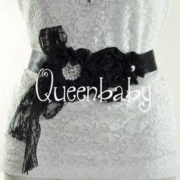Maternidade fotografia flores on-line-10 pçs / lote preto caixilhos caçoa faixa de flores cintos Outfit faixa, Maternidade Sash Fotografia adereços de casamento 10 pçs / lote