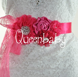 Wholesale Shabby Kid - Hot Pink Sashes Kids Matching Lace Shabby Chiffon Rosette Flower Sash Belts Outfit Maternity Bridal Sashes 10pcs lot QueenBaby
