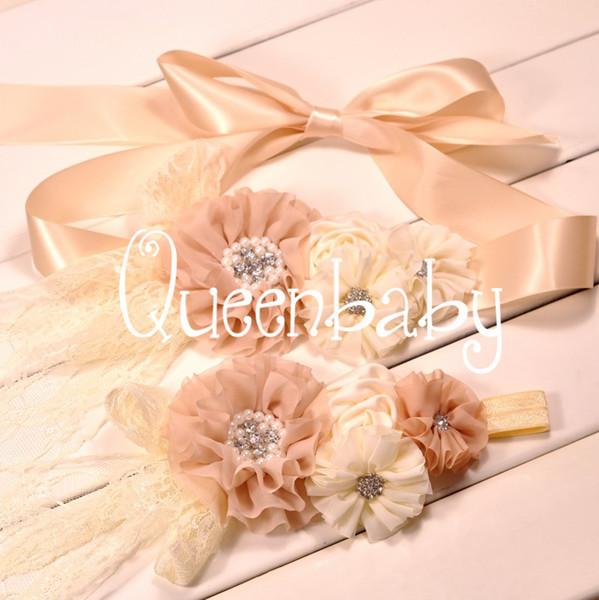 Fajín de gasa beige Sash de bebé Sash Matching Faja de lujo Flowergirl Sash Maternity Sash 8sets / lot