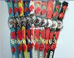 Wholesale Kids 3d Cartoon Watch - Wholesale-20pcs Drop Shipping! sky Blue Spider man 3D Cartoon Children Boys Kids Quartz Watches Wrist Watches Gift.