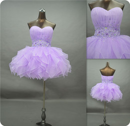 $enCountryForm.capitalKeyWord Canada - 2015 New Ball Gown Prom Dresses Lavender Organza Real Photos Short Sweetheart Beaded Homecoming Cocktail Party Gowns Custom Made