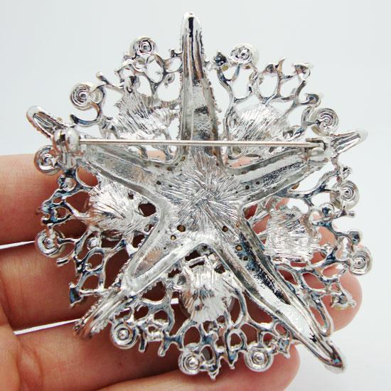 All'ingrosso-Romantico stile moda cristallo chiaro bianco strass stella marina spilla pin decorato marino