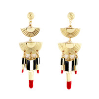 Wholesale Lipstick Earrings - Fashion Delicate Individual Sexy Lipstick Gold Color Alloy Long Drop Earrings Hot Sale