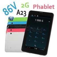 """Wholesale Single Sim Phone Tablet - 86V 7"""" Allwinner A23 Dual Core 2G GSM Quadband Phablet Bluetooth Phone Call Tablet PC Wifi 4GB 512M Dual Web Single SIM Free DHL 3pcs"""
