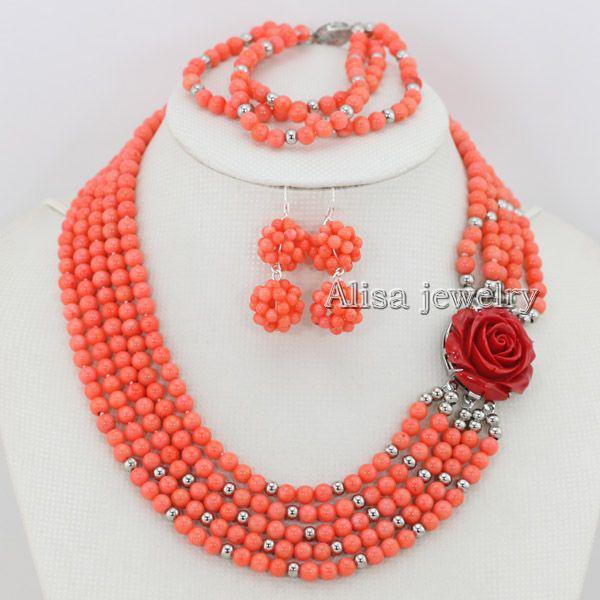 compre colar de coral rosa conjunto de jóias de noiva colar de