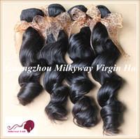 "Wholesale Grade 5a Indian Hair - Wholesale Human Hair Extension Indian Virgin Human Hair Weave 8""-24"" Color 1B Grade 5A 4pcs lot Indian Virgin Hair Aunt Fumi Hair Weave"