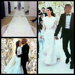 Wholesale Kardashian Lace - Kim Kardashian 2014 New Style High Neck Lace Wedding Dresses Mermaid Long Sleeves White Hollow Back Wedding Dresses With Applique Beads