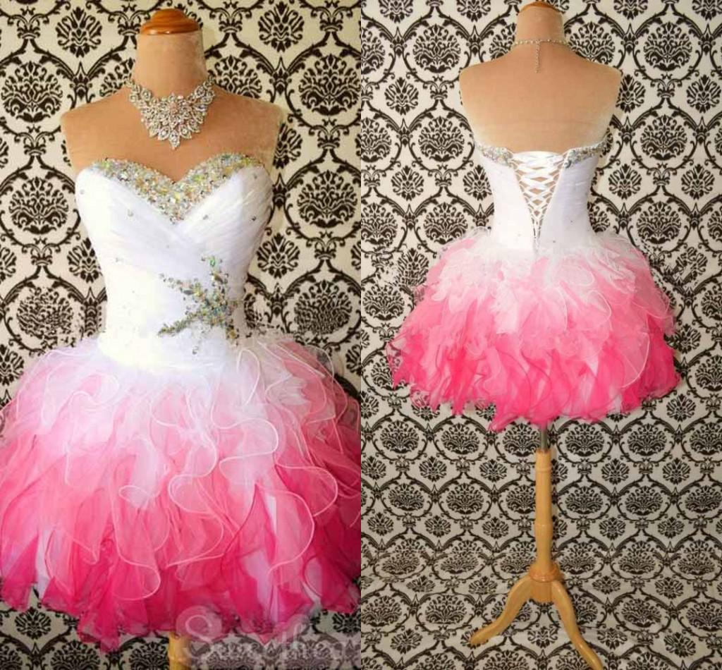 Red And White Evening Dress: Organza Corset Short Prom Dresses Sweetheart Ruched Bodice