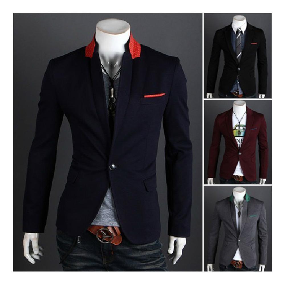 2017 S5q Men's Casual Top Design Sexy Slim Fit Blazers Coats Suit ...