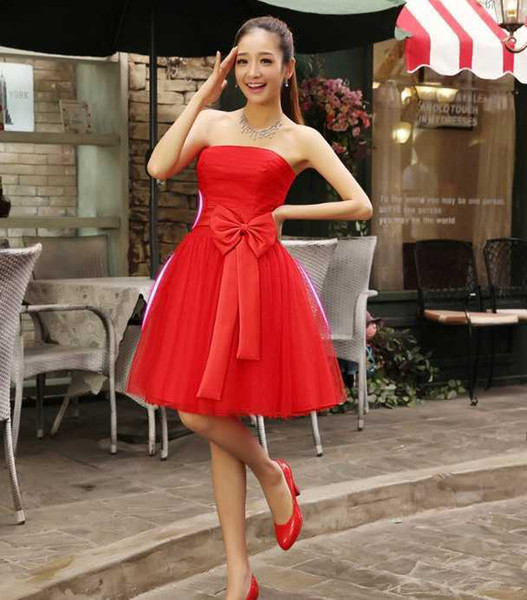 Simple 2014 A Line Bridemaid Dresses Short Mini Tulle Prom Party Gowns Strapless Handmake Flower Wedding Party Gowns Custom