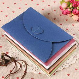 Wholesale Paper Hearts - Retro Heart Buckle Color Kraft Paper Envelopes MINI Gift Card Envelopes Bags Party Favors 50pcs lot SH633