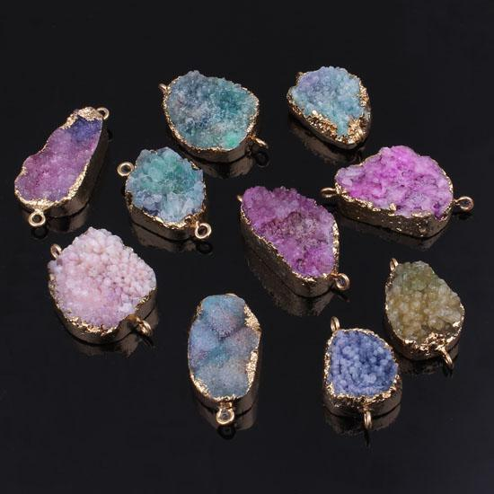 Free Shipping wholesale 10Pcs Gold Plated Natural Rock Crystal Quartz Geode Mixed Colorful Different Size Connector Druzy Pendant