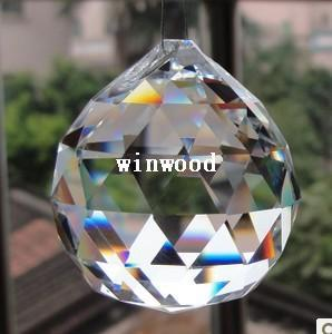 10PCS/lot,Free shipping 30mm crystal faceted ball,crystal chandelier ball parts for wedding& fengshui products ,X-MAS decoration