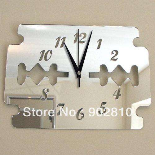 [listado en stock] -40x28cm (16x11in) Cuchilla Decorativa Acrílico Aplique de pared Pegatinas Reloj Decoración de baño