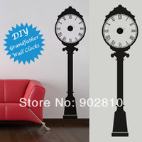 Wholesale England Stickers - [listed in stock]-56X203cm(22X80IN) Grandfather Wall Clocks Vinyl Sticker England Style Quartz Clock Home Decoration (BYC10B26)