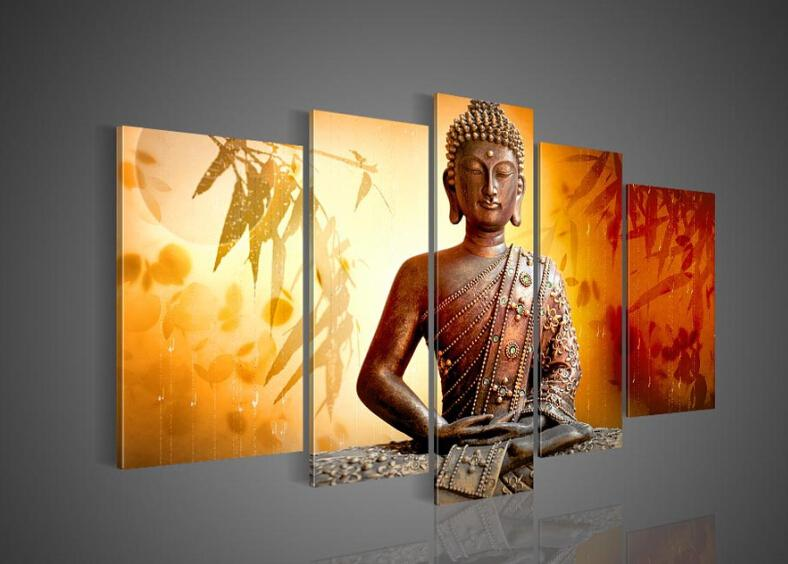 Best Quality Big Size Hand Painted Hi Q Wall Art Home Decor Oil Painting On  Canvas Religious Sakyamuni Buddha Statue Bamboo Leaves Orange Framed At  Cheap ...