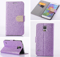 Wholesale Diamond Glitter Sparkling Leather - Glitter Sparkle Bling Rhinestone Diamond PU Leather Wallet Stand Case Cover with Credit Card Slots For Samsung Galaxy S5 I9600 G900