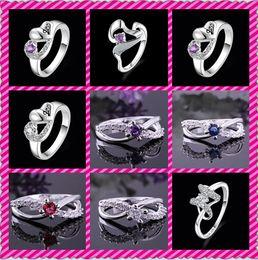 anillo de diamantes de cristal swarovski 18k Rebajas Ventas calientes de la manera 925 anillos de cristal del mosaico de la plata esterlina anillos de la vendimia tamaño US8 mezclan 9 estilos 10pcs / lot