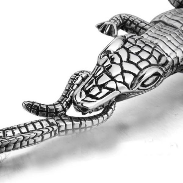 Bracciale da uomo in acciaio inossidabile da uomo in coccodrillo con fibbia premium