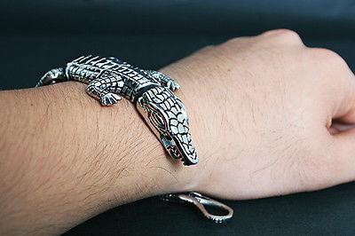 أزياء رجالي فاخرة بريميوم تمساح الفولاذ المقاوم للصدأ الرجال السائق سوار الإسورة
