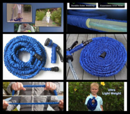 Wholesale Fast Reels - 100Pcs lot 100% high quality 25FT retractable hose Expandable Garden hose Blue color fast connector water hose with + water gun S04
