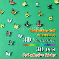modern bebek kreş dekor toptan satış-[Stokta listelenen] -30 adet / paket 3D Duvar Kelebekler Duvar Sanatı Kreş Bebek Düğün Dekor Kız Odası Dekorasyon (BD1118)
