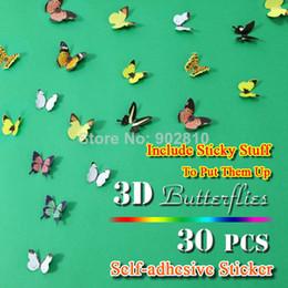 [Stokta listelenen] -30 adet / paket 3D Duvar Kelebekler Duvar Sanatı Kreş Bebek Düğün Dekor Kız Odası Dekorasyon (BD1118) supplier nursery decor for girls nereden kız çocuk yuvası dekorasyonu tedarikçiler