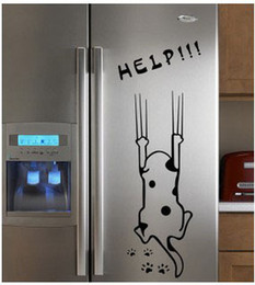 Dogs Cats Art Canada - Free shipping Refrigerator Fridge Art Wall Stickers   Wall Decals  House decoration help cute DIY sticker dog cat