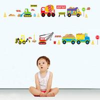 ücretsiz araç çıkartmaları toptan satış-Ücretsiz kargo Yeni çıkarılabilir vinil duvar çıkartmaları kamyonlar ve vinçler ev dekor duvar çıkartmaları çocuk odası için JM8269