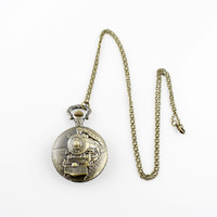 Wholesale Charm Watches Sale - Hot sale Charming fashion jewelry train carved openable pocket watch