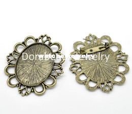 Wholesale Cameo Brooch Settings - Wholesale-Free Shipping! Antique Bronze Cameo Frame Setting Brooches 6x5.2cm(Fit 4x3cm), sold per packet of 5 (B15502)