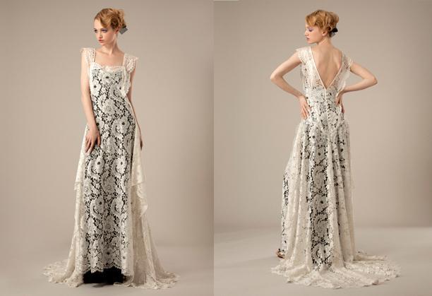 Unique Two Tones Vintage Lace Wedding Dresses Square Neckline Open Back A Line Sweep Train Bridal Gown Dress 2015 New Arrival