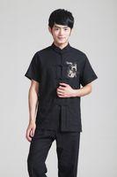 schwarze leinenspitzen großhandel-Freies Verschiffen 2015 heißer Verkauf die nationale Tendenzkleidung chinesische Artoberseitentraditions-Chinesen schwarzes Leinenhemd-Tangklage Tai-Chi-Hemd 2999-4