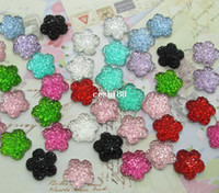Wholesale Bling Flower Flatback - Free Shipping! 300pcs Colorful Resin Bling Flower Cabochons Flatback 11x11mm